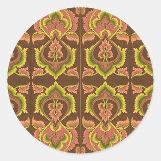 El otoño exótico del vintage colorea el amarillo pegatina redonda