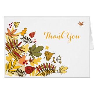 El otoño le agradece cardar las hojas del  , tarjeta pequeña