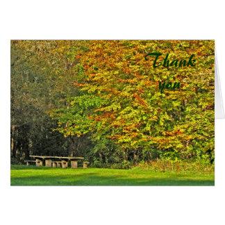 el otoño le agradece tarjeta pequeña