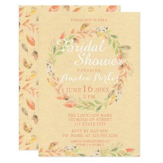 El otoño rústico florece la ducha nupcial de la invitación 8,9 x 12,7 cm
