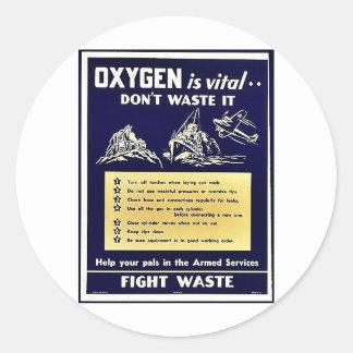 El oxígeno es vital no lo pierde pegatina redonda