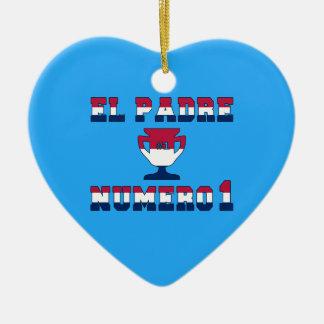 EL Padre Número 1 en colores de la bandera Adorno Navideño De Cerámica En Forma De Corazón