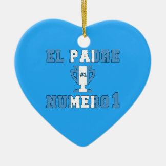 EL Padre Número 1 - papá del número 1 en Adorno Navideño De Cerámica En Forma De Corazón