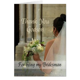 El padrino de boda del ahijado le agradece tarjeta de felicitación