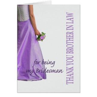 El padrino de boda del cuñado le agradece tarjeta de felicitación
