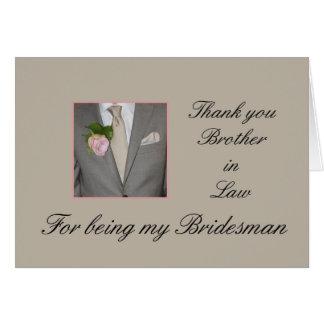 El padrino de boda del cuñado le agradece tarjeta pequeña