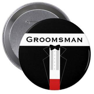 El padrino de boda del smoking modificó insignia chapa redonda de 10 cm