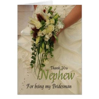 El padrino de boda del sobrino le agradece tarjeta pequeña