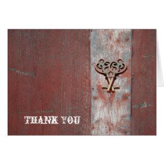 El país pintado de madera con la llave maestra le tarjeta pequeña