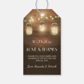 El país que el boda rústico del tarro de albañil etiquetas para regalos