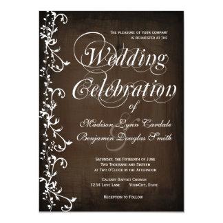 El país rústico remolina las invitaciones del boda invitación 11,4 x 15,8 cm