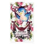 El pájaro adorable del vintage scissors al estilis tarjetas personales