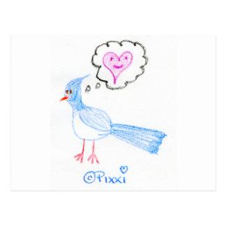 El pájaro azul de la felicidad postal