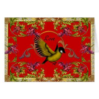El pájaro del amor de la tarjeta florece rojo