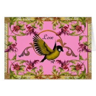 El pájaro del amor de la tarjeta florece rosa