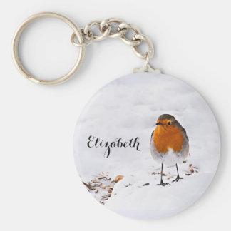 El pájaro lindo de encargo del petirrojo en nieve llavero redondo tipo chapa