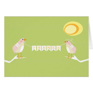 Pink Themed Baby Shower Modern Bird Thank You Card