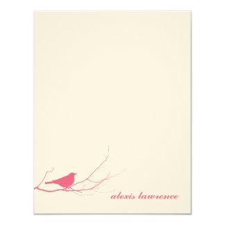 El pájaro rosado en ecru de la rama le agradece invitación 10,8 x 13,9 cm