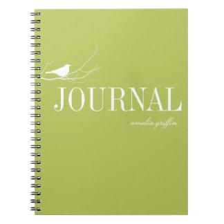El pájaro se encaramó en el diario del personaliza libreta espiral