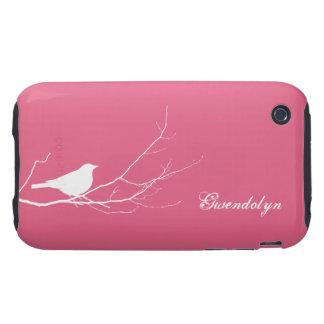 El pájaro se encaramó en la moda rosada blanca de funda resistente para iPhone 3