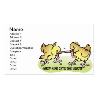 El pájaro temprano consigue el gusano tarjeta personal