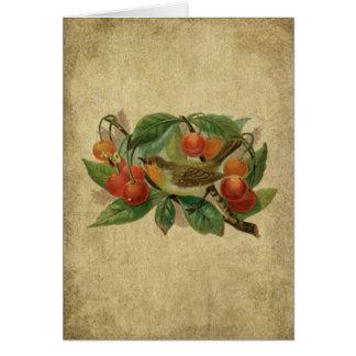 El pájaro y las cerezas coloridos Prim la tarjeta