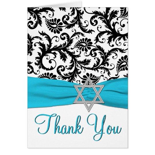El palo azul, blanco, negro Mitzvah le agradece Tarjeta Pequeña