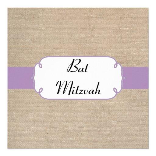 El palo violeta y beige Mitzvah del vintage de la  Comunicado Personalizado