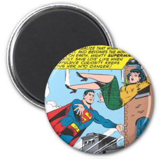 El panel cómico del superhombre - Lois de ahorro Imán Redondo 5 Cm