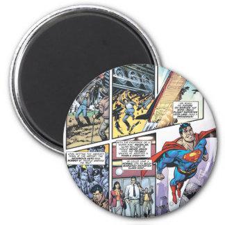 El panel cómico del superhombre - los orígenes 2 d imán redondo 5 cm