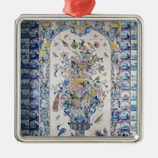 El panel de la teja de Delft del cuarto de baño Adorno Cuadrado Plateado