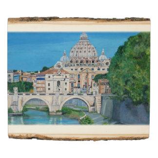 El panel de madera de la foto del arbolado del río