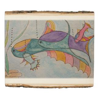 El panel de madera w/fish de la foto del arbolado