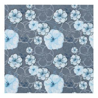 El panel de pared azul de la flor