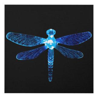El panel de pared azul de la libélula