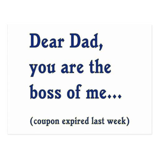 El papá es Boss de mí Tarjeta Postal