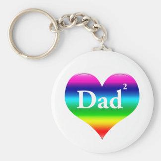 El papá gay ajustó LGBT Llavero Redondo Tipo Chapa