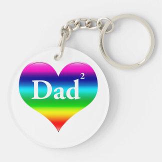 El papá gay ajustó LGBT Llavero Redondo Acrílico A Doble Cara