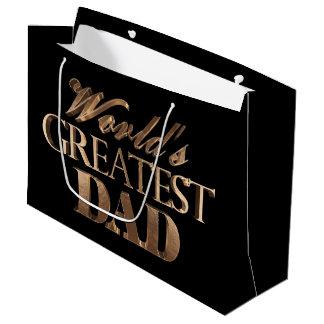 El papá más grande del oro de los mundos elegantes bolsa de regalo grande