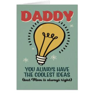 El papá tiene la tarjeta más fresca del día de tarjeta de felicitación