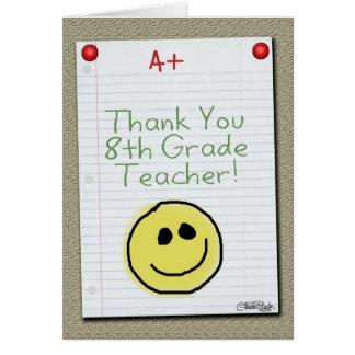 El papel del cuaderno le agradece por profesor de tarjeta de felicitación