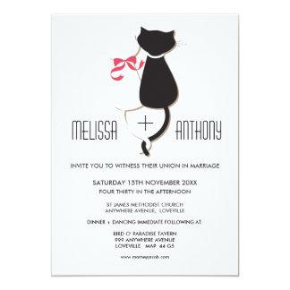 El par lindo del gato raya el boda invita anuncio