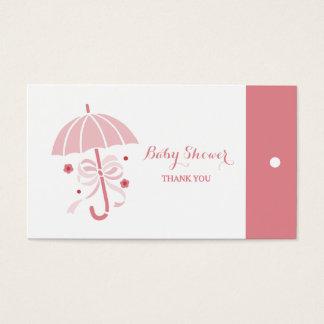 El paraguas lindo del rosa de la fiesta de tarjeta de visita