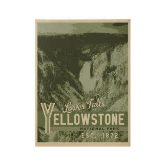 El parque nacional de Yellowstone baja caídas Póster De Madera