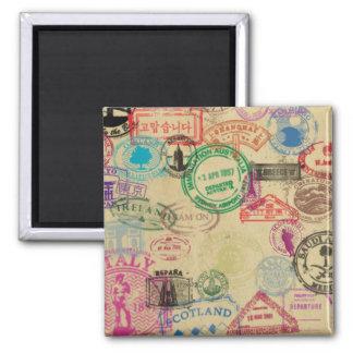 El pasaporte del vintage sella el imán cuadrado de