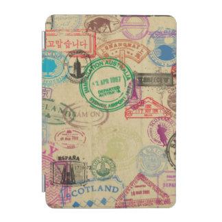 El pasaporte del vintage sella la cubierta cubierta de iPad mini