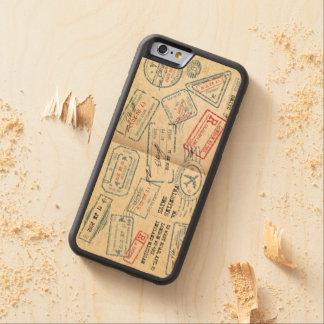El pasaporte retro del estilo sella los regalos funda de iPhone 6 bumper arce