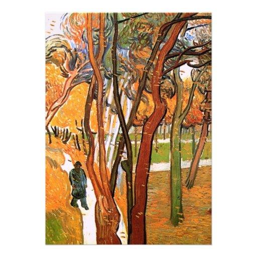 El paseo en hojas que caen de Vincent van Gogh Comunicado