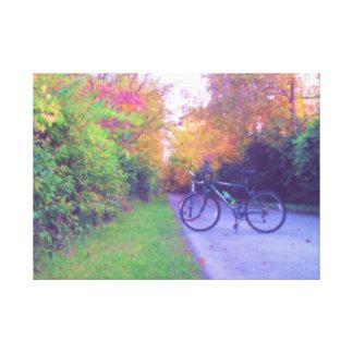 El paseo pacífico de la bicicleta en pasteles impresion en lona
