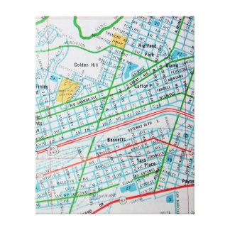 EL PASO, mapa del vintage de TX Impresión En Lienzo